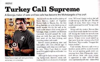 Steve Reeves of Supreme Turkey Calls